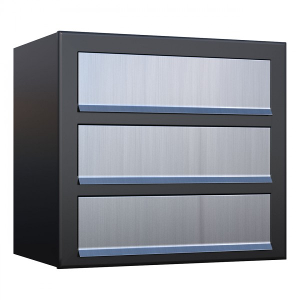 Postkastsysteem Cube voor drie Zwart met RVS inwerpklep