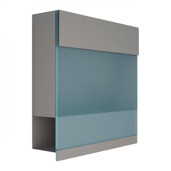 Brievenbus Manhattan Special Grijs Mettallic mit blauer Acrylplatte