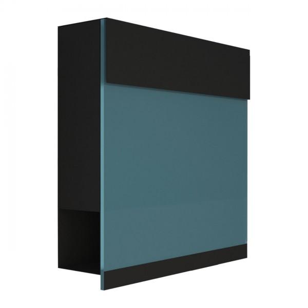 Brievenbus Manhattan Special Zwart mit blauer Acrylplatte