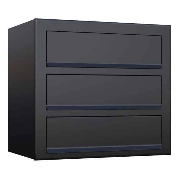 Postkastsysteem Cube voor drie Zwart